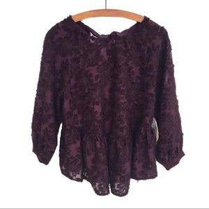 NWT Altar'd State Sheer Textured Peplum Top